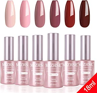 MIZHSE Gel Nail Polish Set- 18ml 6 Bottles Trendy Red Soak Off Nail Gel Polish Manicure Series Glamour Goddess UV LED Lamp Required with Gift Box Big Capacity