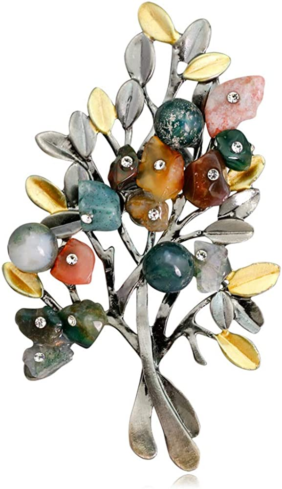Christmas Tree Brooch Pin Colorful Stone Crystal Brooch Corsage Jewelry Clothes Accessories
