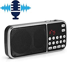 Mini Portable Digital Audio Music Player Speaker with LED Flashlight Support FM Radio TF Card USB AUX,Support MP3 / FM mode,With memory function,Stereo Sound,High Performance Speaker(Black,ABS)