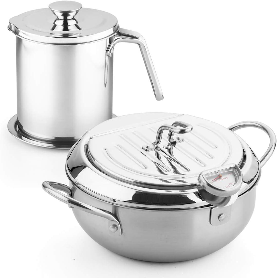 9.8 * 6in 3.38Quart /& 1.7L Filter pot with Filter Spoon stainless steel fryer pan Tempura Japanese Style Household Frying Pot Kitchen Deep Fryers Tempura Fryer Pan PFOA free