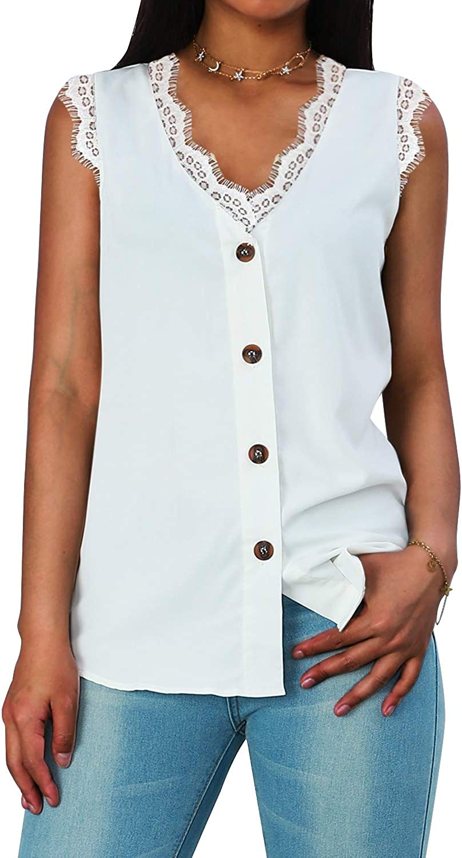 Women's Summer Casual Lace Shirt V-Neck Button Cardigan Women's Sleeveless Top Blouse for Women
