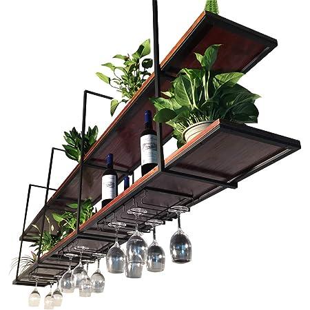Floating Shelves Brackets Plant Stand Ceiling Mounted Hanging Household Storage Organizer Shelf Bar Restaurant Suspended Wall Holder Wine Shelves Size 100 30 80cm Amazon Co Uk Home Kitchen