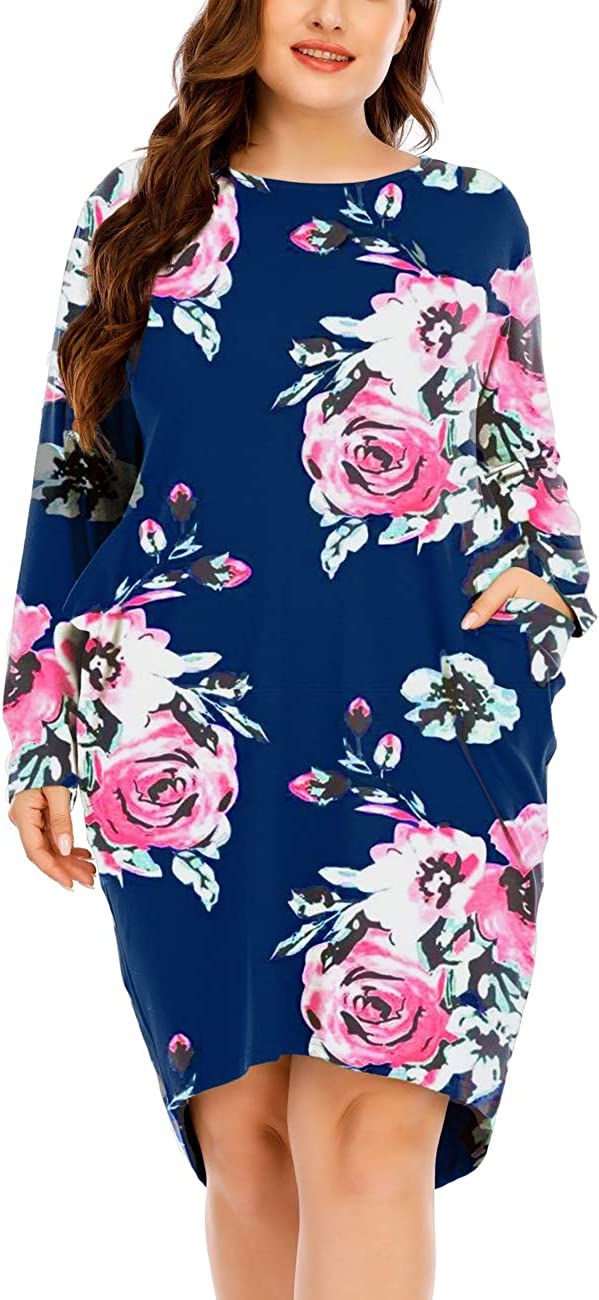 Yosayd Long Sleeves Oversize Dresses with Pocket for Women