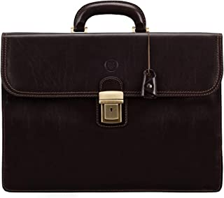 Maxwell Scott Men's Large Leather Business Briefcase - Paolo3 Brown