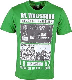 VfL Wolfsburg T-Shirt Shirt Oberteil Kurzarm 20 Jahre Bundesliga Collage Herren Männer grün