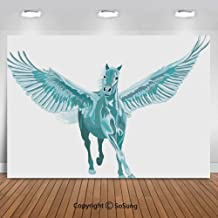 9x6Ft Vinyl Horse Decor Backdrop for Photography,Artistic Blue Pegasus Horse with Open Wings Fantasy Mystery Myth Flight Background Newborn Baby Photoshoot Portrait Studio Props Birthday Party Banner