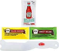 Heinz Condiment Packet Variety Pack, 50 Each Ketchup, Mustard, and Relish with By The Cup Spreader