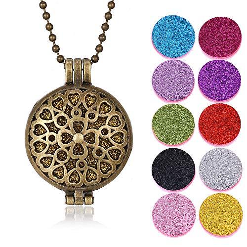 Aromatherapie-Halskette Neue Aroma Diffusor Halskette Vintage Bronze Open Medaillons Anhänger Parfüm Öl Diffusor Aromatherapie Halskette Mit 10 Stück Pads-16