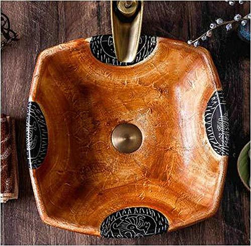 DWSS® Wastafel Gootsteen Handgemaakte primitieve stijl Steen zoals porselein Vierkante aanrechtblad Badkamer Sink-2