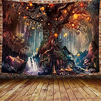 DBLLF Fantasy Plant Magical Forest Tapestry Fantasy Forest Wall Tapestry A Large Life Tree in Forest with River Bedroom Living Room 80×60 Inches DBZY0425