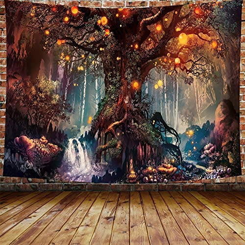 DBLLF Fantasy Plant Magical Forest Tapestry Fantasy Forest Wall Tapestry A Large Cotton Life Tree in Forest with River Bedroom Living Room 80×60 Inches DBZY0425