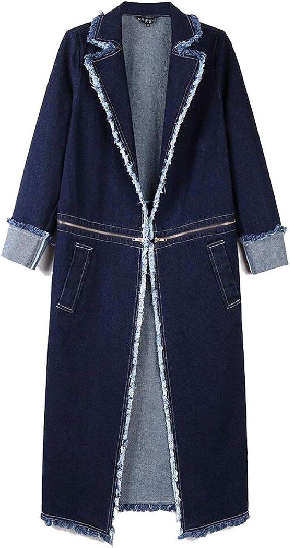 Sanderso Womens Lapel BF Double Breasted Oversized Denim Coat Midi Trench Jacket