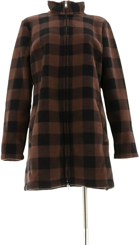Denim & Co. Plaid Sherpa Lined Fleece Zip Jacket A299202