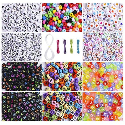 Peirich - 1400 perlas para enhebrar en 11 estilos con alfabeto, cartas, perlas de semillas, perlas de amor, cuerda de cera, bisutería para niñas