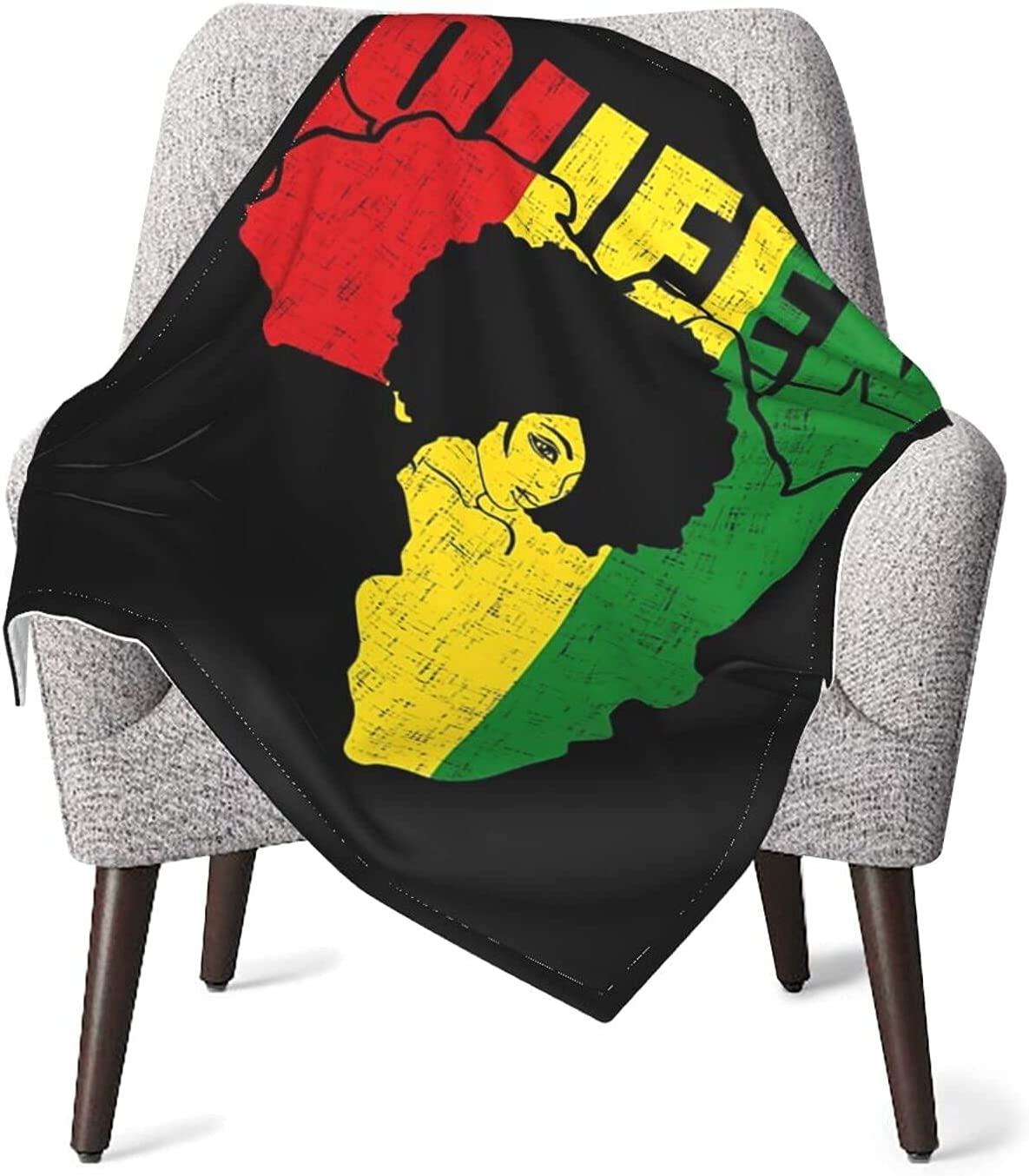 African Map with Afro Queen in Cozy Blank Flag half Africa Throw Very popular Warm