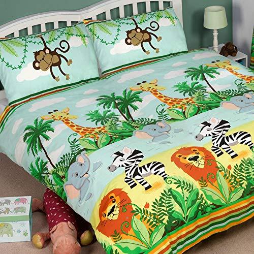Jungle-Tastic Double Housse de couette et lot de taies d'oreiller pour lit double