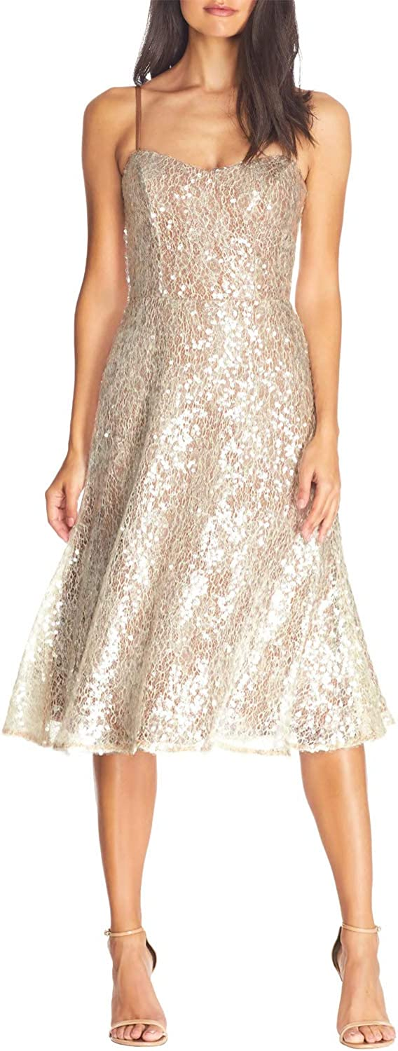 Dress the Population Women's Antonia Sequin Lace Fit & Flare Midi Dress, Off-White, S