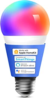 Meross Homekit Smart WiFi LED Bulb Dimmable Multicolor, Remote Control, Equivalent 60W E27 2700K-6500K Compatible with Sir...