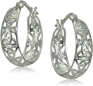 Sterling Silver High Polished Celtic Knot Filigree Hoop Earrings