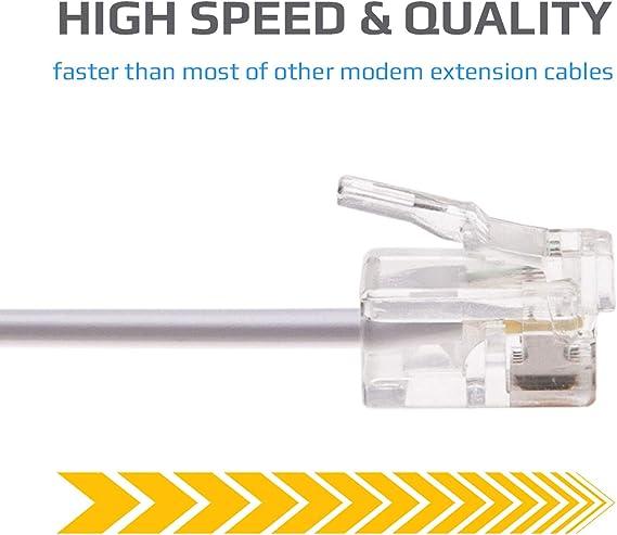 RJ11 Cable ADSL 15m de Extensión Telefónico Conector Telecom de Banda Ancha de Internet de Alta Velocidad de Macho a Macho Enrutador y Módem a RJ11 Enchufe de Teléfono, Microfiltro (Blanco): Amazon.es: