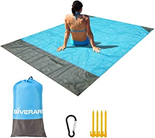 GIVERARE Sandfree Beach Blanket, Waterproof Large Family Mat for Travel, Camping, Hiking, Music Festival, Outdoor Picnic B...