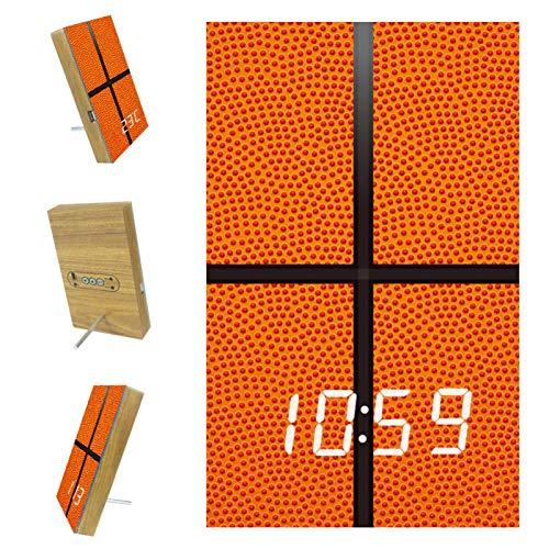 Z&Q Despertador LED Despertador Digital Baloncesto Naranja Deporte Reloj De Mesa con Control por Voz, Hora,Temperatura, para el Hogar, Dormitorio, Guardería y Oficina 15.8x9.7x2.3 cm