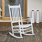 Outsunny Modern Deck Wooden Rocking Chair White
