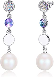 Esottia Dangle Drop Long Earrings Made with Crystal Pearls from Swarovski, Gifts for Women, Multi Color, Silver-Tone