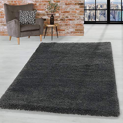 HomebyHome Shaggy Hochflor Teppich Wohnzimmerteppich Flor Super Weich Farbe Grau, Farbe:Grau, Grösse:140x200 cm