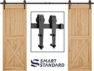 SMARTSTANDARD 10FT Heavy Duty Double Gate Sliding Barn Door Hardware Kit, Two-Piece Rail, Black, Super Smoothly and Quietly, Easy to Install, Fit 30