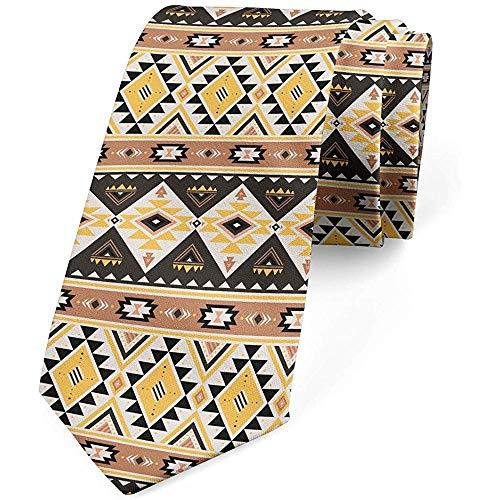 Mathillda heren stropdas, Mexicaanse lijnen en driehoeken, stropdas, mosterd cacao