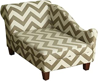 HomePop Decorative Pet Bed Chaise Lounger, Grey and Cream Chevron