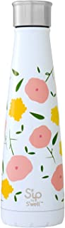 S'ip by S'well Vacuum Insulated Stainless Steel Water Bottle, Double Wall, 15 oz, Poppy Culture