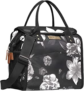 Kaome Lunch Bags for Women Reusable Insulated Lunch Bag for Men Double Zippers Wide Open Lunch Cooler Container Bag Durable Leakproof Picnic Lunch Box for Work School Outdoor Flower