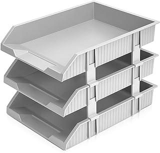 File Rack, Three-layer Plastic File Storage, Office Data Storage And Organization Rack, Folder File Desktop Organization X...