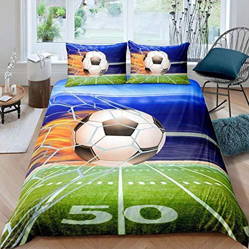 Meimall Juego De Ropa De Cama Moderno Azul Deportes Fútbol 180X220 Cm Reversible, 100% Microfibra Suave Y Agradable, 1 Funda Nórdica Y Funda De Almohada De 50X75Cm con Cremallera