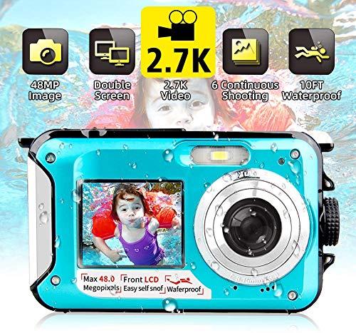 Unterwasserkamera wasserdichte Digitalkamera Unterwasserkamera FHD 2.7K 48MP Videorecorder Camcorder Selfie Dual Screen wasserdichte Kamera zum Schnorcheln 10 ft unter Wasser