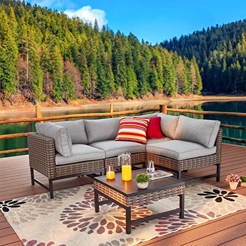 Festival Depot 5pc Patio Sectional Corner Sofa Set Outdoor All-Weather Wicker Metal Coffee Side Table with Seating Back Cushions Garden Poolside (Gray)