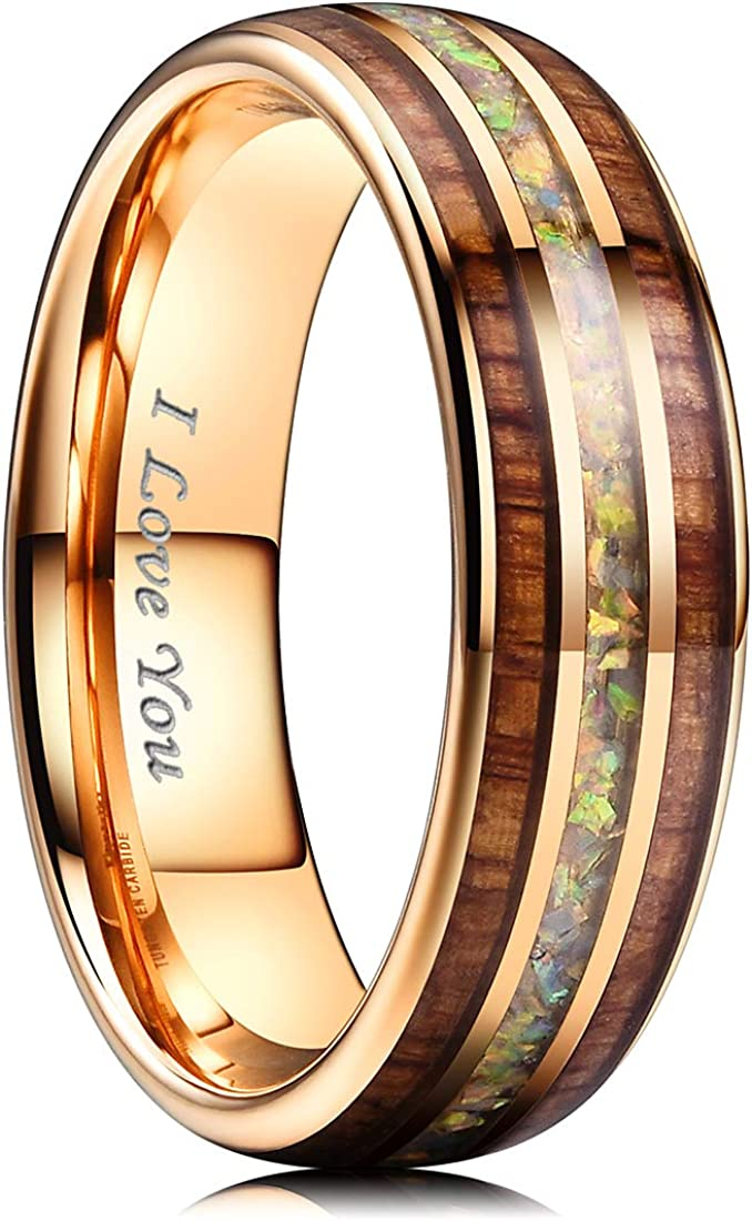 NaNa Chic Jewelry 6mm Metal/Rose Gold Tungsten Carbide Wedding Ring Inlaid with Real Wood & Multicolor Opal Engagement Band