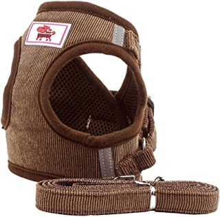 BLEVET Puppy Vest Harness Breathable Corduroy Straps Pet Walking Harness for Small Medium Dogs AU-PS042