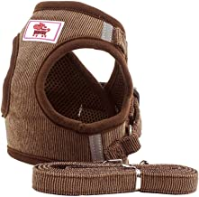 BBDOGO Refective Pet Vest Harness Breathable Corduroy Straps Walking Harness for Small Medium Puppy Dogs Cats CW058