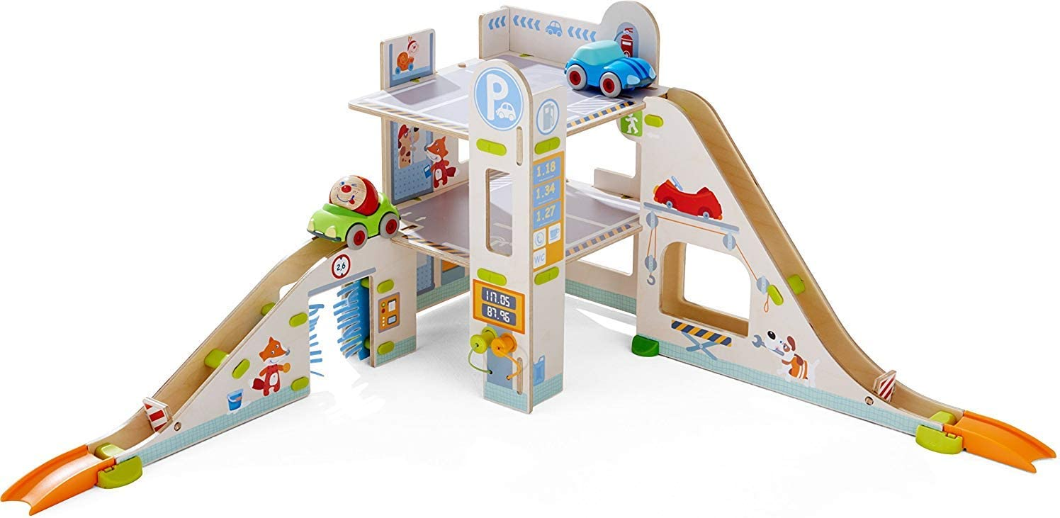 HABA Kullerbu Parking Garage store - Classic 3 Levels of F with Car Play Wash
