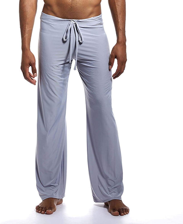 Ubrand Men's Long Ice Silk Sport Yoga Pants Drawstring Lounge Jogger Bottom Pants Sleepwear Sport Solid Color Long Trousers