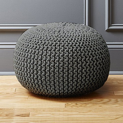 AHOC LARGE 60CM HANDMADE CHUNKY KNIT KNITTED POUFFE COTTON FOOT STOOL CUSHION MOROCCAN POUF (Grey)