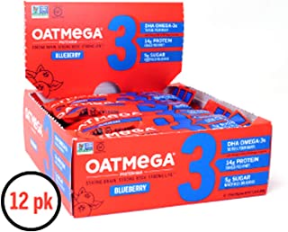 OATMEGA Protein Bar, Blueberry, Energy Bars Made with Omega-3 and Grass-Fed Whey Protein, Healthy Snacks, Gluten Free Protein Bars, Whey Protein Bars, Nutrition Bars, 1.8 Ounce (12 Count)