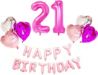 AZOWA Big Number 21 Balloons Pink with Happy Birthday Letter Balloons Heart Shaped Mylar Balloons for 21 Birthday Party Decorations (Pink, Number balloon 40 In, Letter balloon 16 In)