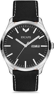 Escape Men's Tahoe 42MM 3 Hand/Date Silver Case on Black Leather Strap Watch
