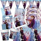 spielum Set da 58 pezzi Frozen – La regina di ghiaccio 2 – piatti, bicchieri, tovaglie, sacchetti per feste, inviti, bandierine, cannucce per 6 – 8 bambini