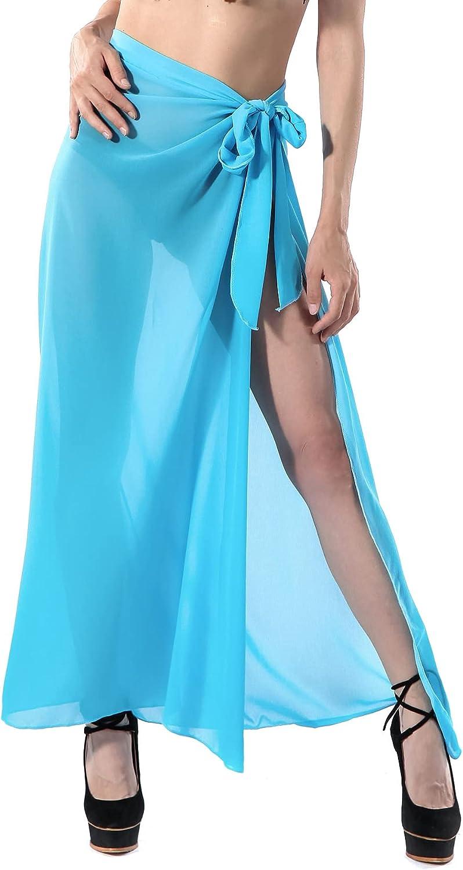 Ayliss Women's Swimsuit Cover Up Summer Beach Wrap Skirt Chiffon Swimwear Bikini Cover Ups Sarong Sheer Wrap Maxi Skirt