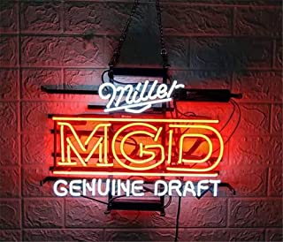 Neon Qiong Neon Sign Factory 17X14 Inches Real Glass Neon Sign Light for Beer Bar Pub Garage Room Miller Genuine Draft.